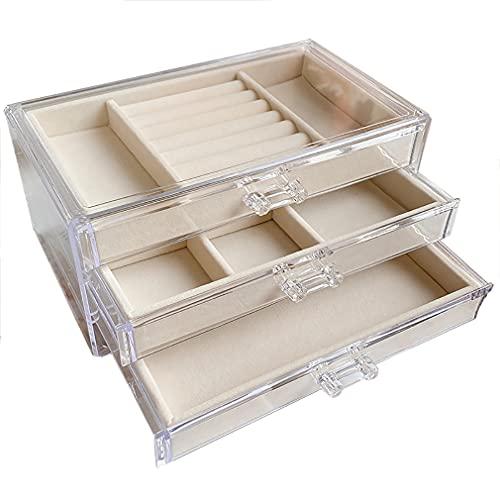 Cajas de joyería de acrílico con 3 cajones organizador de joyas de terciopelo cajas de regalo transparentes para joyas, pendientes, pulseras, collares, 24 x 15 x 10 cm