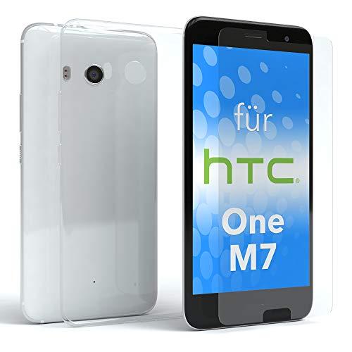EAZY CASE Silikonhülle & Panzerglas im Set für HTC One (M7) I Displayschutzglas, Panzerglas nur 0,3 mm 9H Härte, Schutzhülle Ultra dünn, TPU/Silikon Hülle, Backcover, Transparent/Kristallklar