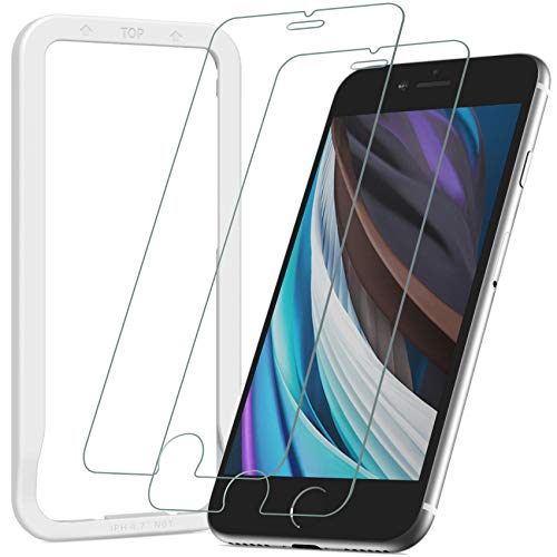 [Guide Frame Included] Nimaso Tempered Glass LCD Protective Film for iPhone 8 & iPhone 7, Pack of 2, Materials by AGC, 3D Touch-compatible, 9H Hardness Rating, High Transparency