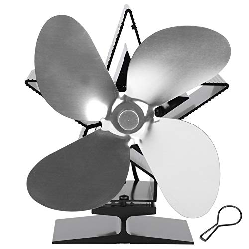 Fdit Ventilador de Estufa con Calor de 4 Cuchillas, Ventilador ecológico cálido circulante para Chimenea de leña casera(Plata)