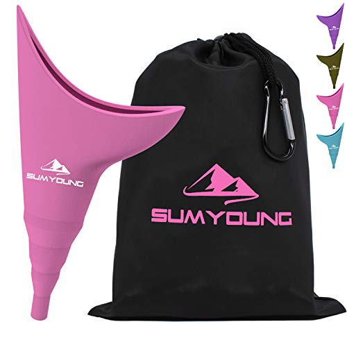Female Urination Device, Foolproof Female Urinal Allows Women to Pee Standing Up, Portable, Compact, Lightweight Design for Camping, Hiking, Music Festivals, with Drawstring Bag and Carabiner-Pink