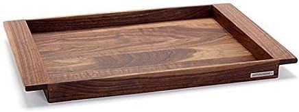 Preisvergleich für NATUREHOME NH-E Holztablett Nussbaum - 55x36x5cm Serviertablett aus Massivholz im Landhaus Stil Deko Tablett Holz Frühstückstablett elegante Servierplatte rechteckig mit Griffleisten