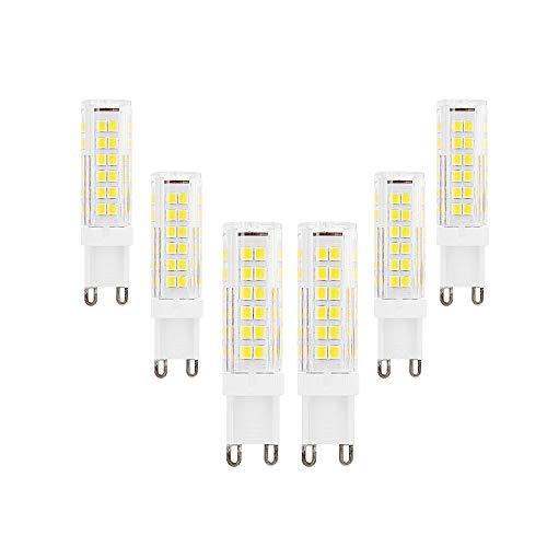 Bombillas LED G9 Equivalente a 9W Halógena de 90W Blanco Frío 6000K 900Lumen AC220-240V Ángulo de Haz de 360 ° Lámpara de Ahorro de Energía g9 No Regulable(Paquete de 6)[Clase Energética A ++]
