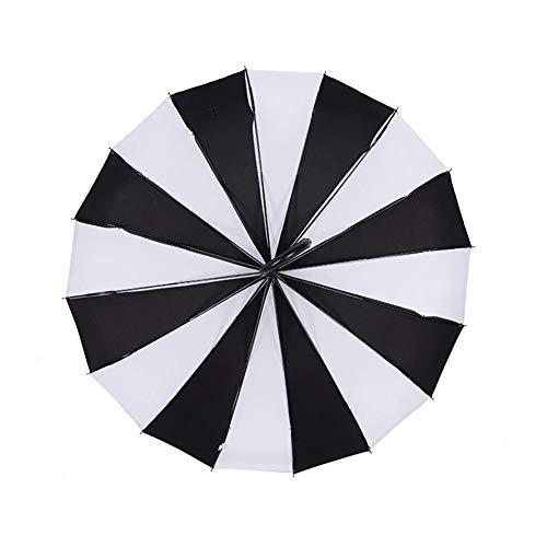 Desirabely - Ombrello in Bianco e Nero, Grande, Grande, Stile Classico Gotico, Antivento