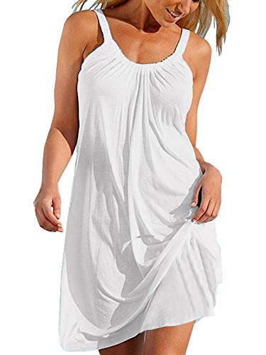 Cindeyar Damen Sommerkleid Lose Casual Kleid Rundkragen Strandkleid Kleider MiniKleid, XL, Weiß