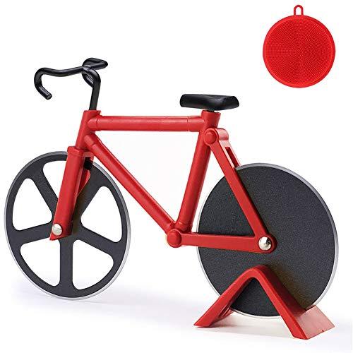 Fahrrad Pizzaschneider, 100% Essen Grade Antihaftbeschichteter Edelstahl Doppel Pizza Schneider, Profiausführung, Geeignet für Party usw, Interessantes Weihnachtengeschenk, Rot