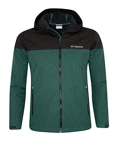Columbia Lucky Find Soft Shell Mens Hooded Full Zip Spring / Fall Water resistant Jacket (XL, Green Heather)