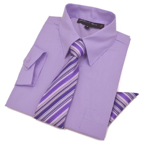 Boys Dress Shirt with Tie and Handkerchief #JL26 (8, Lilac)