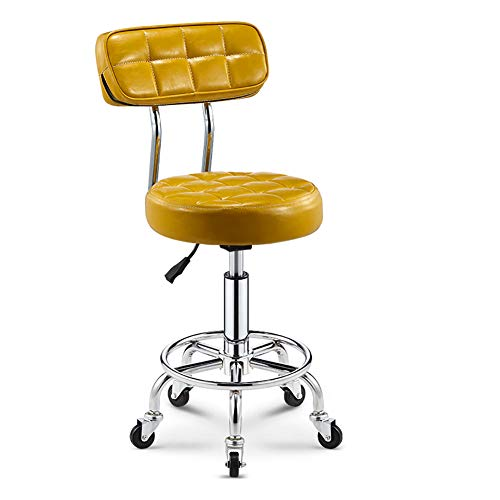 MG-GRD Silla giratoria Taburete de Oficina Salón de Belleza Taburete Taburete médico Taburete Ajustable, Altura Ajustable, Rueda, rotación de 360 Grados,Gold
