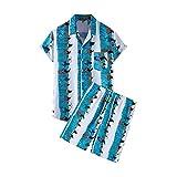 SMEJS Conjunto de estampados para hombres, camisa de manga corta corta corta corta corta, traje de hombre casual transpirable de verano (Color : Blue, Size : XXL code)