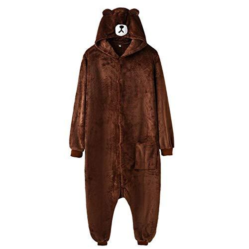 Bär Strampler Hausschuhe Frauen Männer Erwachsene Tier Cartoon Brown Pyjamas Lustige Holiday Party Phantasie Anzug Zip Button Workwear (Color : Button Model, Size : S)