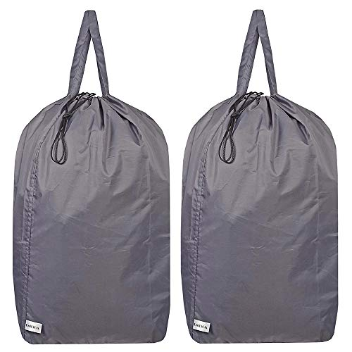 UniLiGis Washable Travel Laundry Bag with Handles and Drawstring (2 Pack), Heavy Duty Large Enough to Hold 3 Loads of Laundry, Fit a Laundry Basket or Clothes Hamper, 27.5x34.5 in,Grey