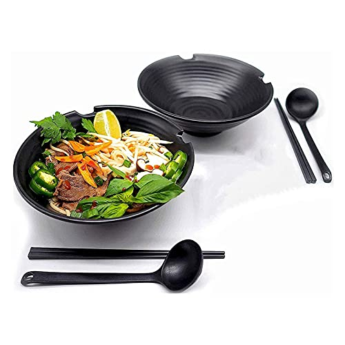 TTXP 2 Set Japanese Ramen Noodle Soup Bowl Melamine Hard Plastic Dishware Set with Matching Spoon and Chopsticks,Black
