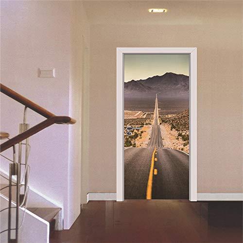 Diopn Türaufkleber American Freeway Route 66 Klassische Szene Mode Aufkleber Kunst Dekor Wand Fenster Removable Poster 3D(77 * 200)