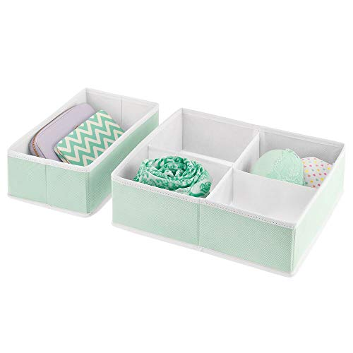 mDesign Soft Fabric Dresser Drawer and Closet Storage Organizer Bins for Bedroom Closet, Dresser Tops, Drawers - 2 Pieces, 5 Compartments - Textured Print - Mint Green