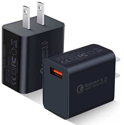 Quick Charge 3.0 Wall Charger, 2-Pack 18W QC 3.0 USB Charger Adapter Fast Charging Block Compatible Wireless Charger Compatible with Samsung Galaxy S10 S9 S8 Plus S7 S6 Edge Note 9, LG, Kindle, Tablet