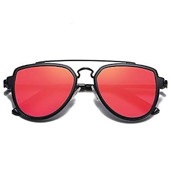 SOJOS Polarized Double Bridge Aviator Sunglasses for Men Women Mirrored Lens SJ1051 with Black Frame/Red Mirrored Lens
