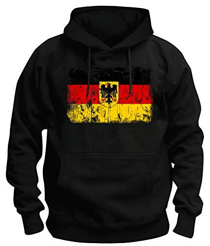 TShirt-People TSP Deutschland BRD Vintage Flagge Fahne Kapuzen-Sweatshirt Herren XL Schwarz