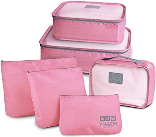 Kit 6 Necessaire Organizador Bolsa Mala Viagem E-bag Mochila Cor: Rosa Claro JD