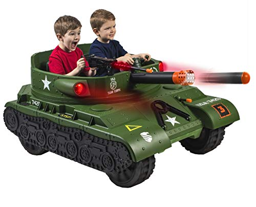 Let Kids Enjoy Hours of Fun Rolling Thru the Neighborhood,Battling in Their Favorite Outdoor Adventure Area With Cool and Exciting 24 Volt Thunder Tank Ride-On With Working Cannon and Rotating Turret!