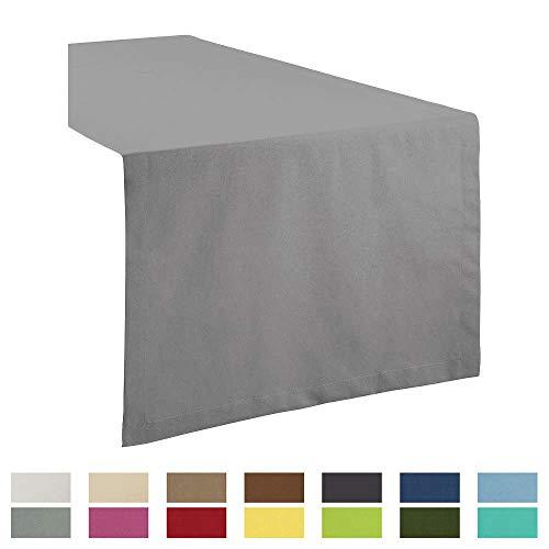 REDBEST Tischdecke, Tischläufer Uni Seattle, 100% Baumwolle - Robustes, glattes Gewebe, mit hochwertigem Kuvertsaum, grau Größe 40x170 cm (weitere Farben, Größen)