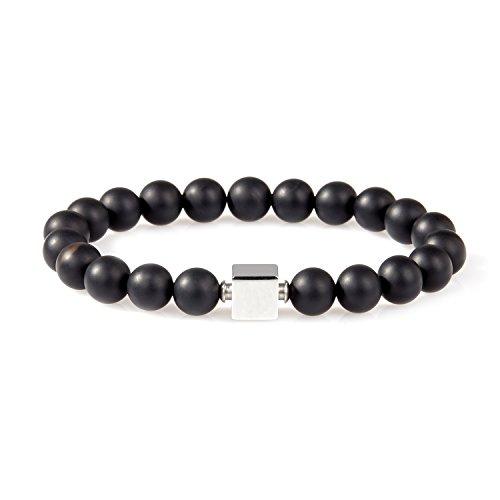 URBANSTYLES - Perlenarmband Schmuck - Armband Buddha Energiearmband Herren Universal - Shamballa 8 mm Naturstein Perlen Halbedelsteine - Quadratische Logo-Perle - Schwarz ca. 18 cm Obsidian