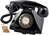 GPO Carrington Classic Retro Push-Button Phone - Pull-Out Tray, Traditional Bell Ring Tone - Black