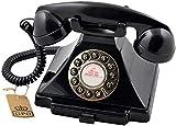 GPO 1929 S Classic Carrington Retro Drucktasten-Telefon 20er Jahre Design mit ausziehbarer Schublade - Schwarz