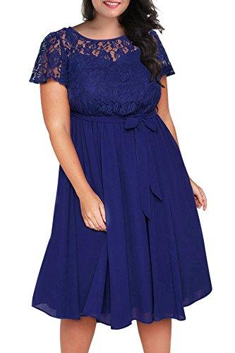 Nemidor Women's Scooped Neckline Floral lace Top Plus Size Cocktail Party Midi Dress (26W, Blue)