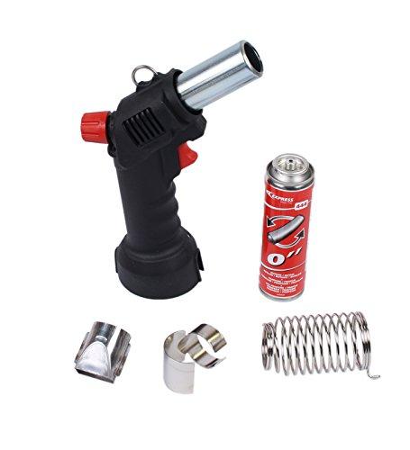Express Gas-Heißluftpistole Piezozündung (Set mit Brenner, Kartusche, Schalenreflektor und Flachdüse)