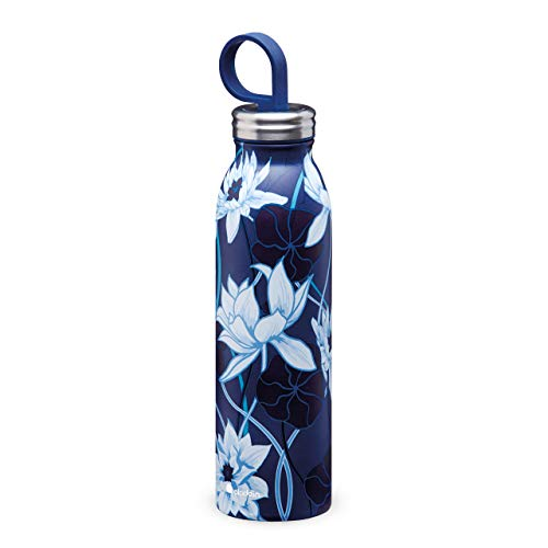 Aladdin Chilled Style Thermavac Stainless Steel Water Bottle 0.55L Lotus Navy – Double Wall Vacuum Insulated Reusable Water Bottle - Keeps Cold for 9 Hours - BPA-Free - Leakproof - Dishwasher Safe