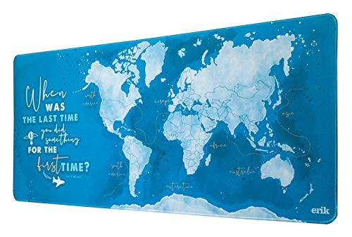 World Map XXL Mouse Mat - Desk Pad - 31.5' x 13.78' Non-Slip Rubber Base Mouse Pad, Gaming Mouse Pad, Keyboard Mouse Mat, Waterproof Mouse Mat, Soccer Mouse Mat