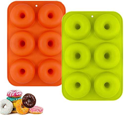 CathEU Moldes de Silicona Donut/Molde de Pastel de gofres Y moldes para Hornear Pasteles de Varias Formas Antiadherente Molde Apto para Lavavajillas, Horno 2pcs (Green)