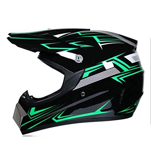 BICBLL Conjunto de Casco de Motocross de Moda Casco de Moto de Cara Completa Casco de Moto de Cross con Gafas Guantes Cubierta Facial Casco de Bicicleta