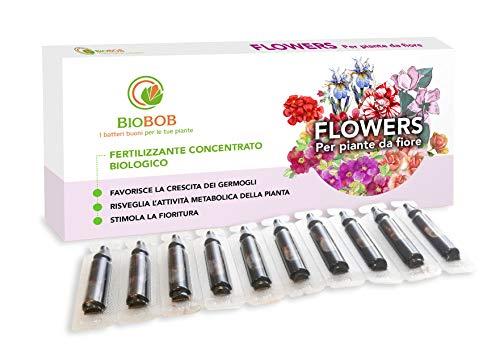 BIOBOB Flowers - Concime Biologico per Fiori anche Indoor - Kit salvaspazio per piante da fiore - Fertilizzante universale per piante fiorite