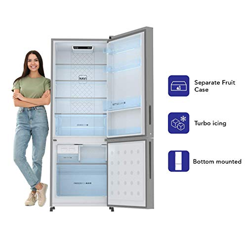 Haier 256L 3 Star With Inverter Double Door Refrigerator (HRB-2764BS-E, Brushline Silver)