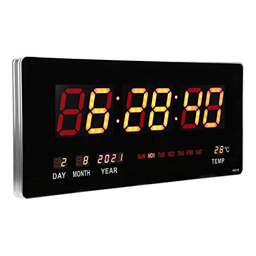 Digital LED Number Wall Clock, Electronic LED Perpetual Calendar Hanging Clock with Time, Calendar and Temperature Display, for Home, Kitchen and Office (US)