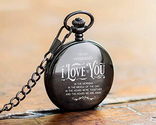 Engraved Pocket Watch with Chain for Men + Included Gift Box - 1st Year Anniversary Gift Idea - Modern Watch with Classic Style