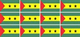 Mini Aufkleber Set - Pack glatt - 50x31mm - Sticker - sao tome and principe - Flagge - Banner - Standarte fürs Auto, Büro, zu Hause & die Schule - 12 Stück