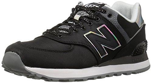 New Balance Women's wl574v1 Fashion Sneaker, Black/Gunmetal, 6 B US