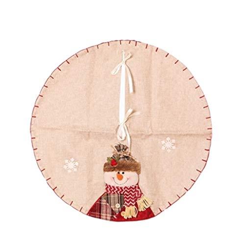 Épaississement tridimensionnel de Noël tablier noël arbre jupe, coton et lin décorations de Noël, 60cm (Color : Snowman)