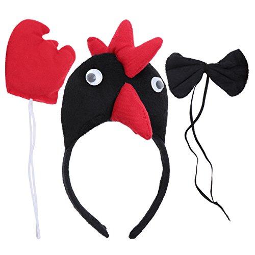 PRETYZOOM Disfraz infantil de animal, juego de 3 unidades, con cabeza de pollo, diadema de animal, cola de animal, pajarita, para carnaval, fiesta de disfraces, color negro