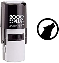 Howling Wolf Cosco Round Self Inking Rubber Stamp - Black Ink (C-635)