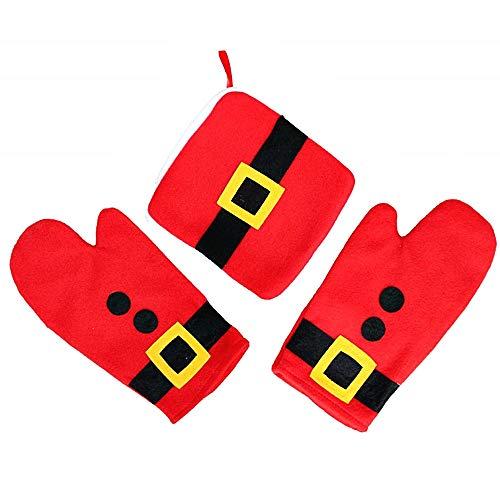 Presine Natalizie da Cucina - Rosso - Confezione 2 Guanti - Una presina Antiscivolo - Idea Regalo Natale e Compleanno