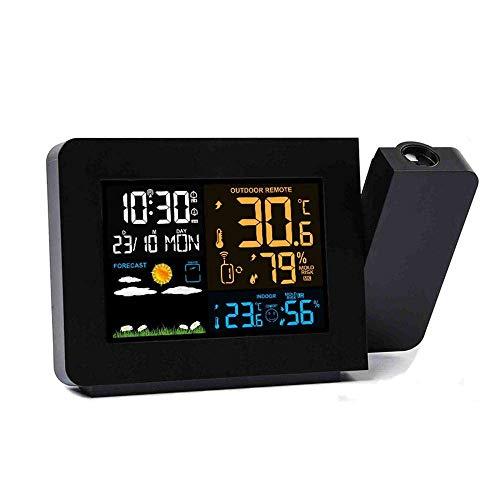 LYY Kabellose digitale Projektionsuhr Wetteruhr Farbbildschirm Wettervorhersage Projektion Uhr Innen und Außen Farbkalender