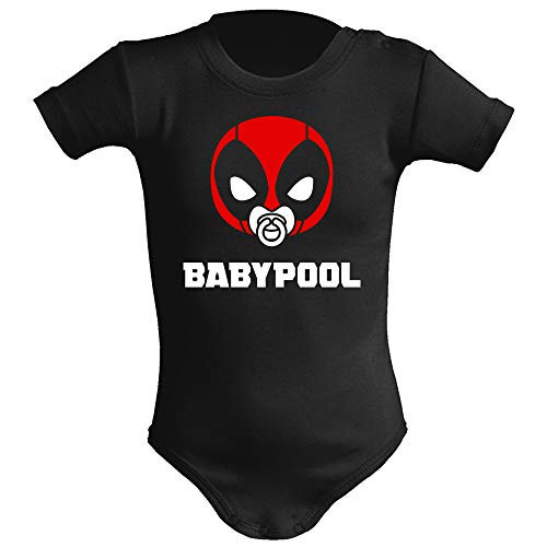 Body bebé unisex Babypool. Parodia Deadpool. Super héroes. Regalo original. Body bebé divertido. Manga corta. (Negro, 6 meses)