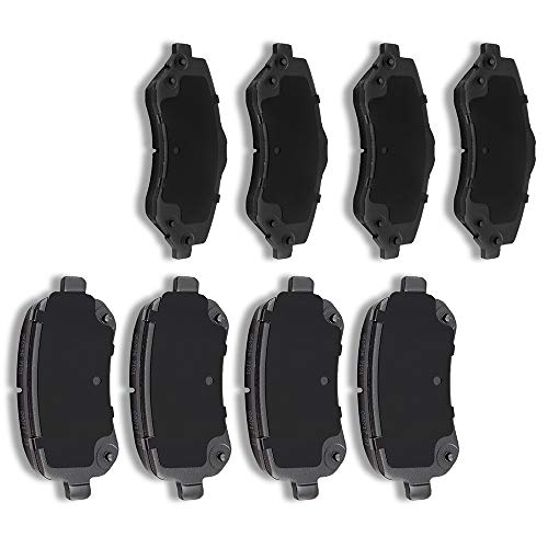 AUTOMUTO 8pcs Front Rear Ceramic Pads Brakes fit for 2008-2012 2014-2016 Chrysler Town Country,2008-2011 Dodge Grand Caravan,2009-2013 Dodge Journey,2012-2015 Ram C/V,2009-2012 Volkswagen Routan