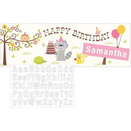 Happi Woodland Girl – Bannière Happy Birthday avec stickers pour personnaliser