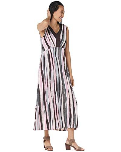 Bob Mackie Womens Plus Striped Maxi Dress 2X Blush Multi A352322