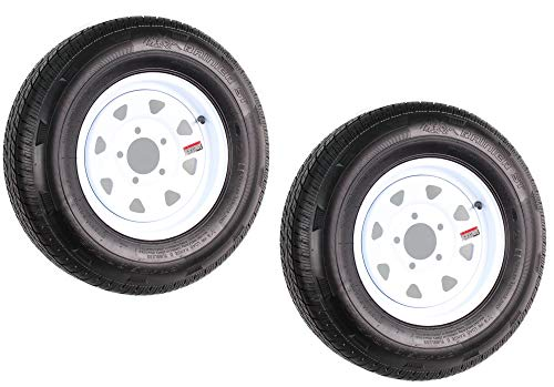 2-Pack Radial Trailer Tire On Rim ST175/80R13 13 in. LRC 5 Lug White Spoke Wheel